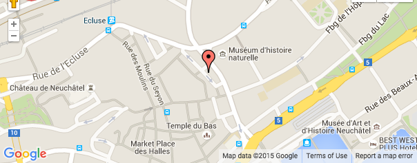 image google maps du centre chirosphere à la rue des terreaux 7 à Neuchâtel